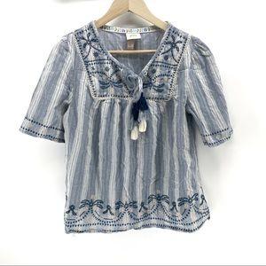 Knox rose blue striped short sleeve blouse